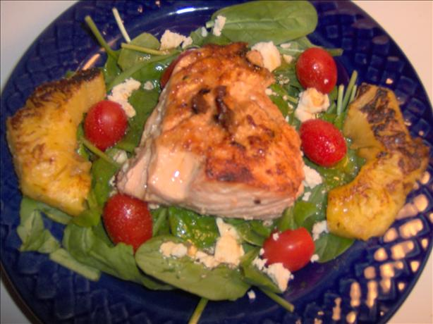 Grilled Salmon Spinach Salad