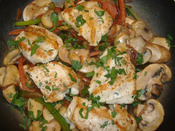 Chicken Bell Peppers Onions and Mushrooms With Marsala