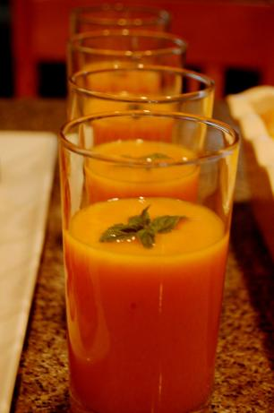 Chilled Cantaloupe Peach Soup with Ginger & Mint