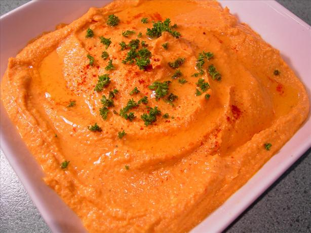 Spiced Sweet Roasted Red Pepper & feta Hummus