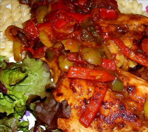 Chicken With Piquillo, Tomatoes, and Olives