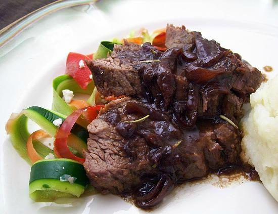 Beef Tenderloin With Caramelized Onions & Red Wine Sauce