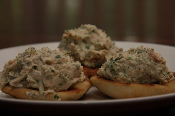 Chicken Tahini Salad With Pine Nuts on Mini Pita Rounds