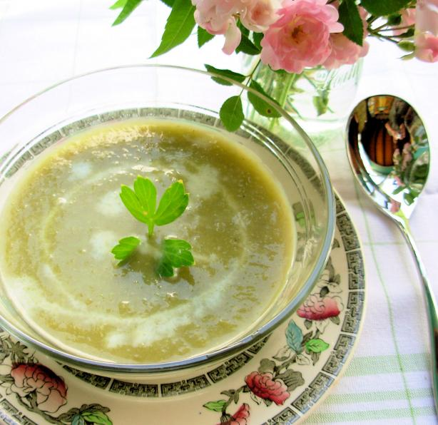 Chilled Summer Lettuce, Lovage and Garden Pea Soup