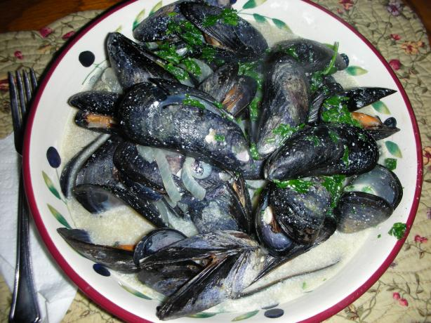 Steamed Fresh Mussels in a Creamy Broth