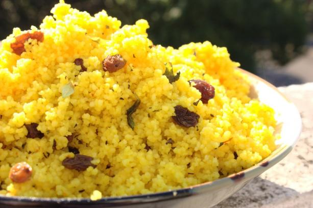 Saffron & Raisin Couscous With Fresh Mint