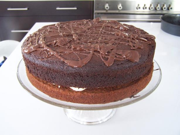 Banana Chocolate Fudge Layer Cake (Light)