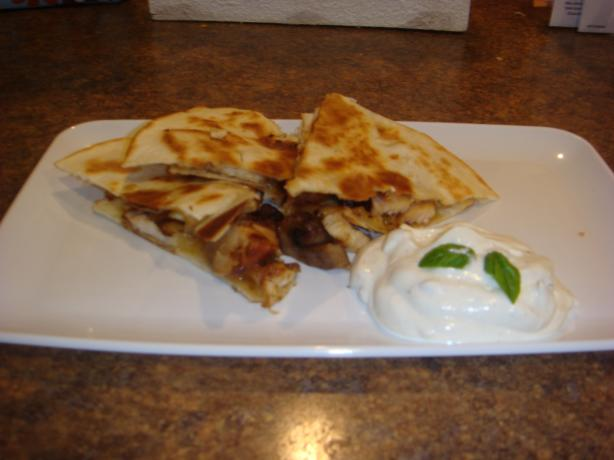 Cumin-Crusted Chicken Cheddar Quesadillas W/ Basil Sour Cream