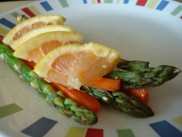 Grilled Asparagus and Carrots With Grapefruit Dill Sauce
