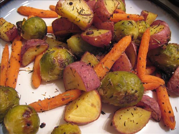 Thyme and Garlic Roasted Potatoes, Brussels Sprouts and Carrots