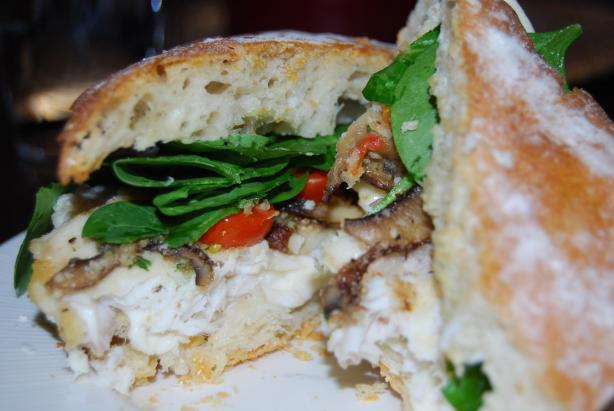 Parmesan Crusted Fish & Portobello Ciabatta Sandwich