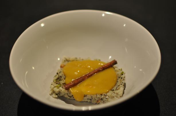 Carmelized Mango Soup With Poppy Seed Rice Pudding