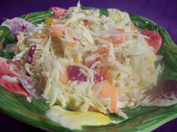 Creamy Coleslaw With Bell Peppers & Red Onion