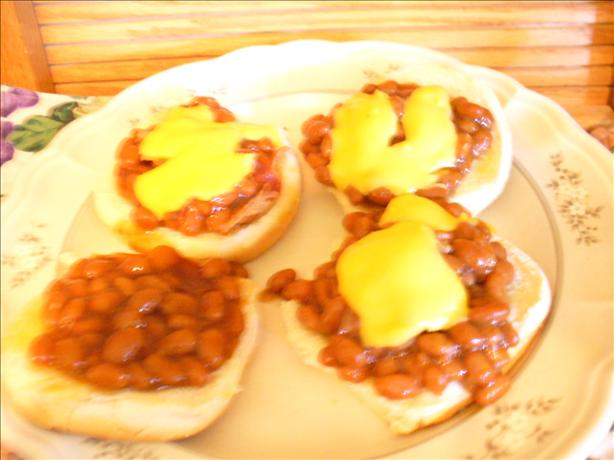 Pork & Beans & Cheese Open Face Sandwiches