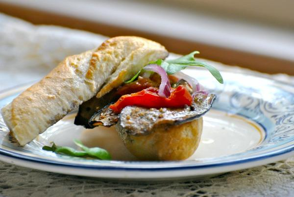 Grilled Eggplant, Cheery Tomato, and Pepper Mayo Sandwich