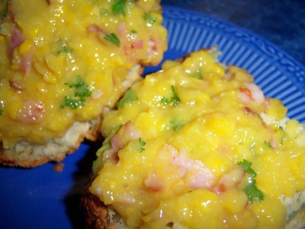 Creamed Corn, Parsley & Bacon on Muffins