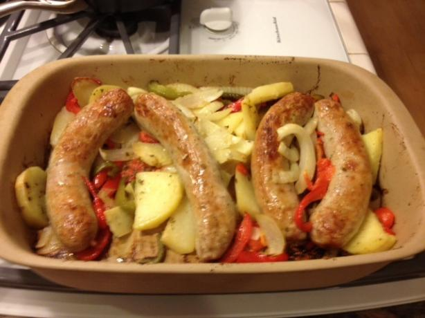 Jeannes's Baked Sausage With Peppers & Potatoes