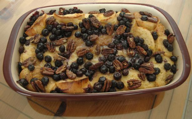 Baked Blueberry-Pecan French Toast With Blueberry Syrup