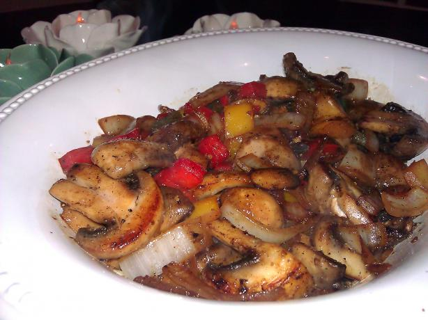 Acadia's Mushroom Pepper Onion Stir Fry