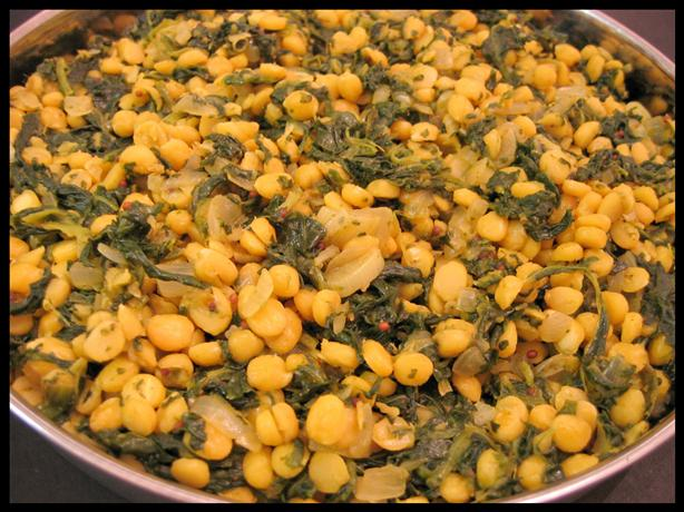 Chana Dal (Yellow Lentils) With Spinach