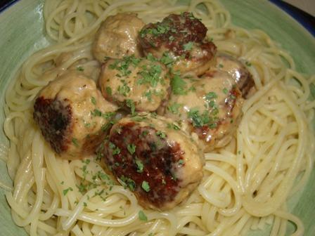 "Creamy Parmesan Pasta With "" Fowl Balls"" (Ha Ha!)"