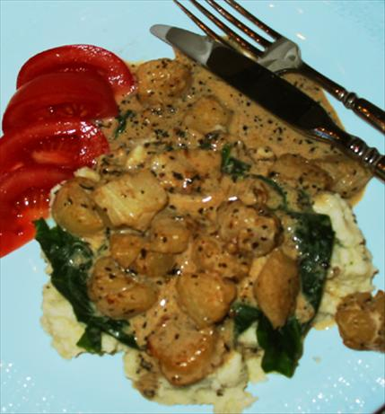 Creamy Tarragon Scallops With Spinach & Smashed Potatoes