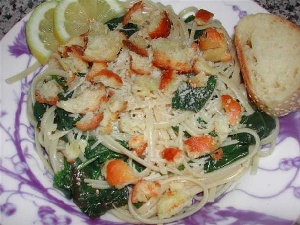 Pasta With Lemon, Spinach, Parmesan and Bread Crumbs