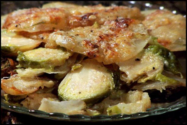 Roasted Brussels Sprouts and Potato Gratin