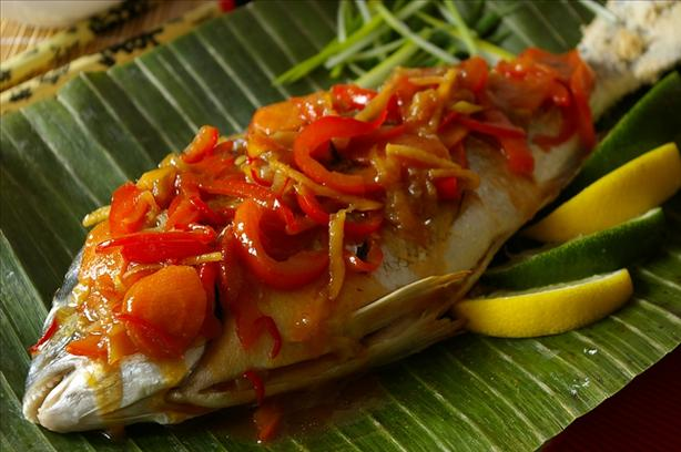 Chinese New Year Whole Fish With Sweet and Sour Vegetables