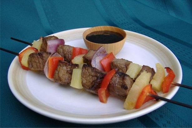 Ginger Beef and Pineapple Skewers