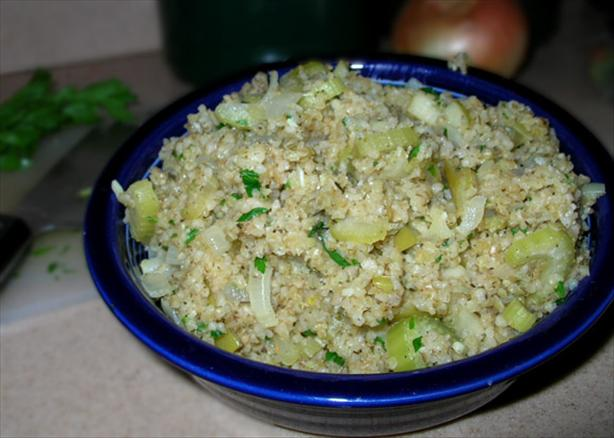 Bulgur Stuffing With Celery, Apples and Sage