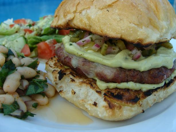 Grilled Turkey Burgers Wtih Monterey Jack, Poblano Pickle Relish