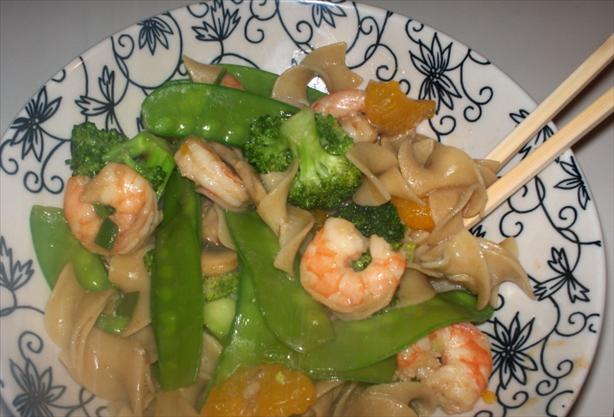 Noodles and Stir Fried Shrimp Medley