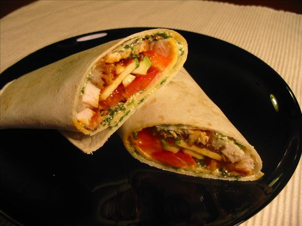 Sassy Chicken Wraps W/Cilantro Pesto