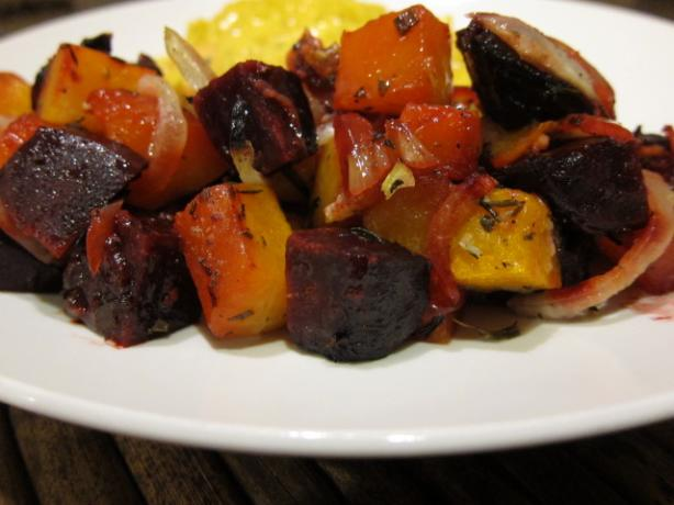 Rosemary Roasted Butternut Squash and Beets With Garlic