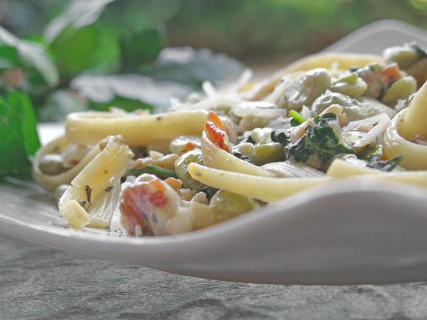 Pasta With Lima Beans and Swiss Chard
