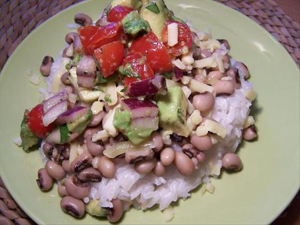 Black Eyed Peas with Coconut Rice and Avocado Salsa