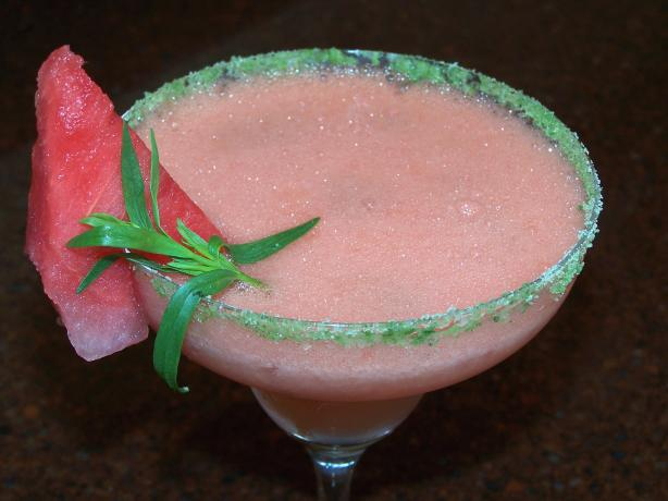 Frozen Watermelon Margarita With Tarragon-Salt Rim