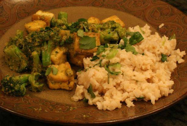 Thai Tofu W/Red Curry Sauce over Coconut Scallion Rice