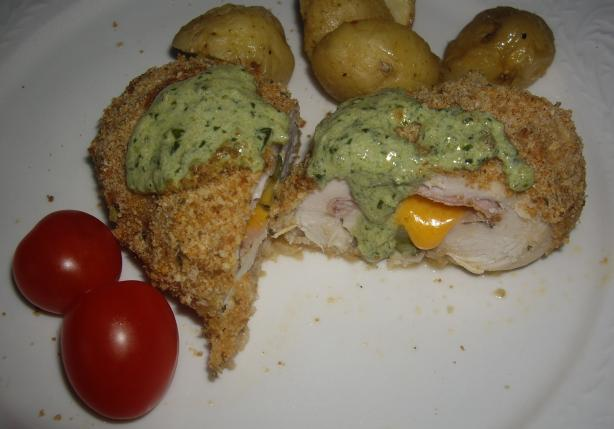 Stuffed Chicken Breasts with Pesto Cream Sauce