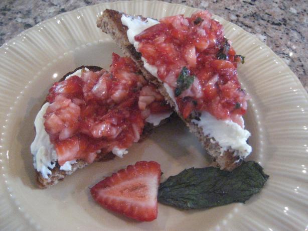 Strawberry Dessert Bruschetta over Mascarpone & Raisin Bread