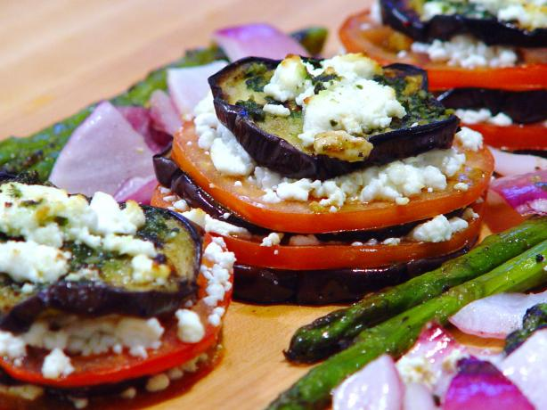 Grilled Eggplant Stacks With Goat Cheese, Tomato and Basil Sauce