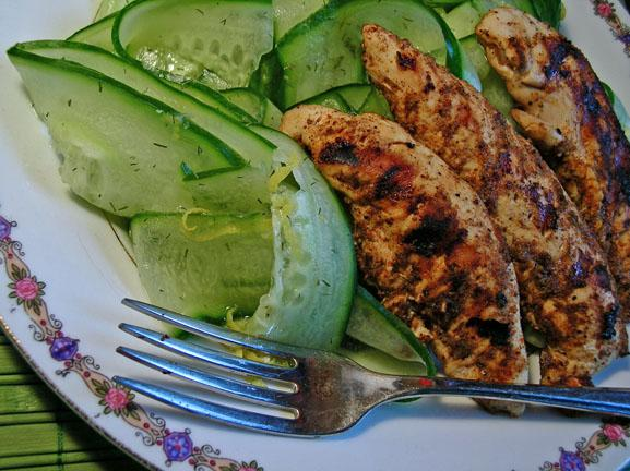 Blackened Chicken Breasts With Marinated Cucumber (Low-Carb)