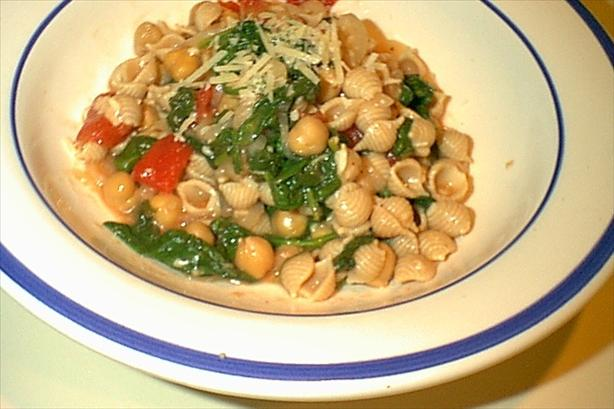 Pasta with Beans and Spinach Parmesan
