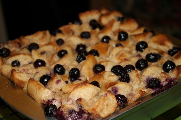 Blueberry Bagel Bread Pudding
