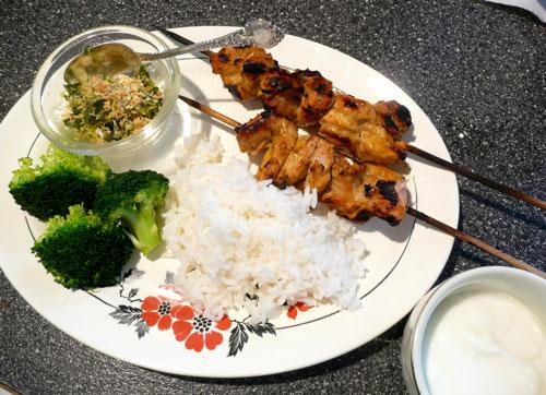Curried Chicken Skewers With Toasted Coconut Gremolata