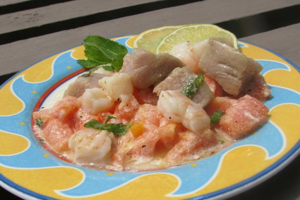 Ahi Tuna and Baby Shrimp Ceviche W/Papaya Salad and Coconut