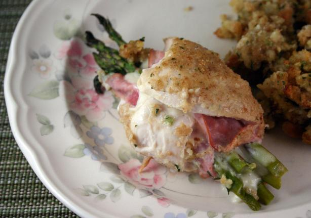Asparagus-Stuffed Chicken Cordon Bleu With a Creamy Wine Sauce