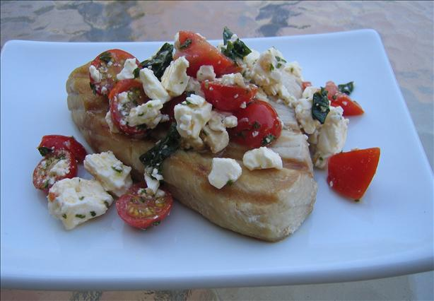 Grilled Tuna With Tomato-Feta Relish