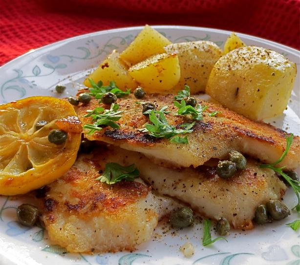 Fish Fillets With Lemon and Caper Sauce